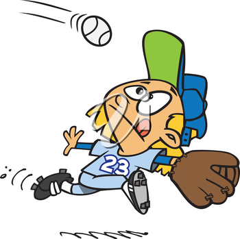 Royalty Free Clipart Image of a Girl Catching a Ball