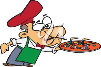 Royalty Free Clipart Image of a Male Blowing Out Candles on a Pizza
