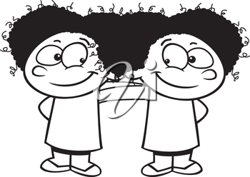 Royalty Free Clipart Image of Two Twins Hanging Out