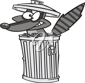 Royalty Free Clipart Image of a Raccoon in a Trashcan
