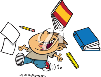 Royalty Free Clipart Image of a Boy Done School for Summer