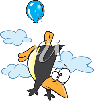 Royalty Free Clipart Image of a Penguin Flying With a Balloon
