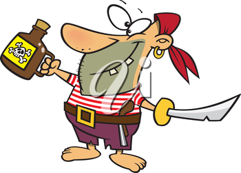 Royalty Free Clipart Image of a Pirate With a Jug