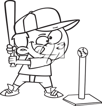 Royalty Free Clipart Image of a Boy Playing T-Ball