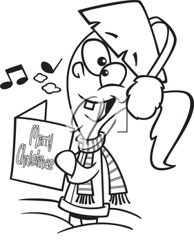 Royalty Free Clipart Image of a Caroller