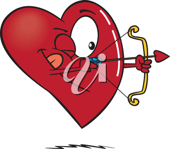 Royalty Free Clipart Image of a Heart Shooting an Arrow