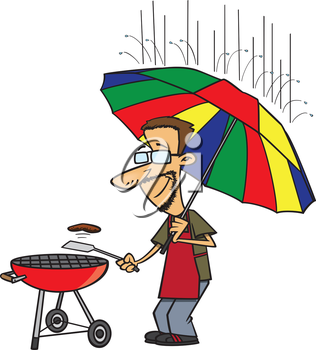 Royalty Free Clipart Image of a Man Barbecuing in the Rain