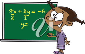 Royalty Free Clipart Image of a Child Writing an Equation on a Chalkboard