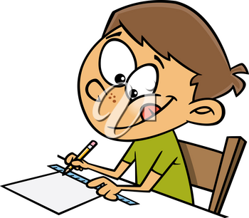 Royalty Free Clipart Image of a Boy Using a Ruler