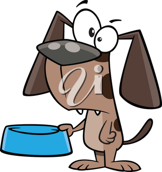 Royalty Free Clipart Image of a Dog With an Empty Bowl