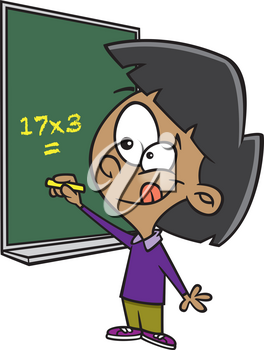 Royalty Free Clipart Image of a Girl Doing Math on a Chalkboard