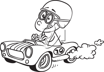 Royalty Free Clipart Image of a Kid in a Racecar