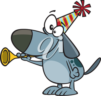 Royalty Free Clipart Image of a Dog Celebrating