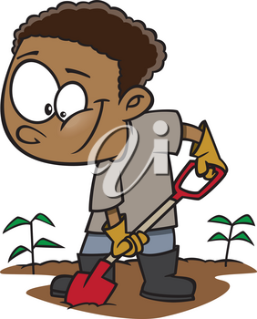 Royalty Free Clipart Image of a Boy Digging a Garden