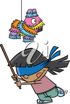 Royalty Free Clipart Image of a Girl Trying to Hit a Piñata