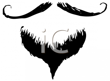 Royalty Free Clipart Image of a Handlebar Moustache and a Goatee
