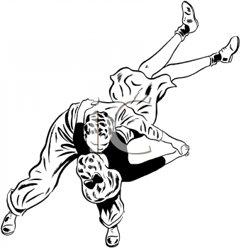Royalty Free Clipart Image of a Girl Getting Flipped While Jiving