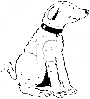 Royalty Free Clipart Image of a Dog Wagging Its Tail