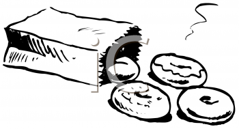 Royalty Free Clipart Image of a Bag of Donuts