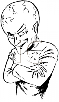 Royalty Free Clipart Image of an Evil Alien Scientist