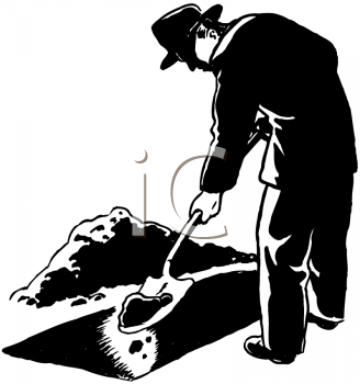 Royalty Free Clipart Image of a Grave Digger
