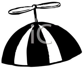 Royalty Free Clipart Image of a Beanie Cap With a Whirlybird