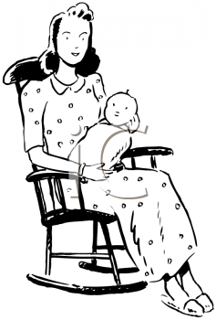 Royalty Free Clipart Image of a New Mom
