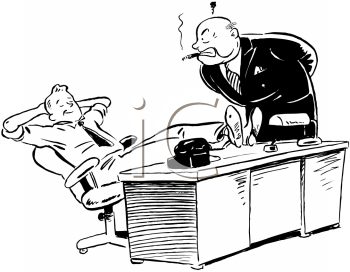 Royalty Free Clipart Image of an Office Worker Caught Slacking Off