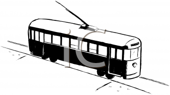 Royalty Free Clipart Image of a Streetcar