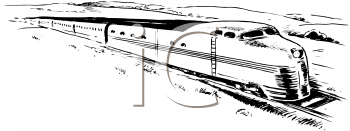 Royalty Free Clipart Image of a Fast Train