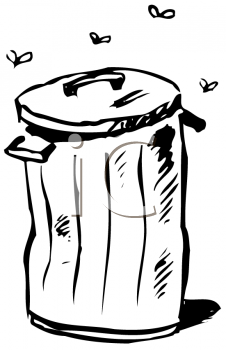 Royalty Free Clipart Image of Flies Around a Trashcan