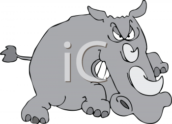 Royalty Free Clipart Image of a Charging Rhino