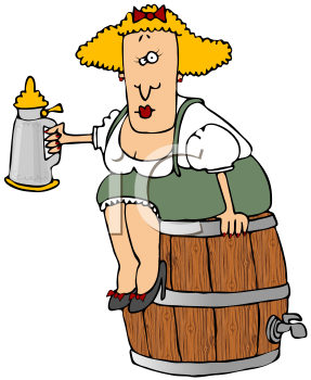 Royalty Free Clipart Image of Beer Barrel Woman