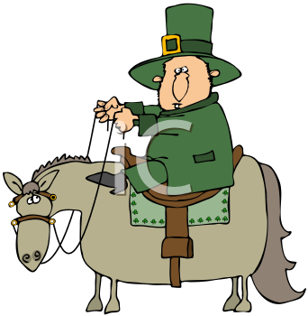 Royalty Free Clipart Image of A Leprechaun Riding A Horse