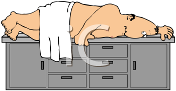 Royalty Free Clipart Image of A Man Lying Under A Towel On An Examining Table