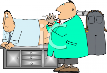 Royalty Free Clipart Image of a Man Getting a Prostate Exam