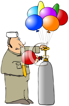 Royalty Free Clipart Image of A Man Filling Balloons From A Tank