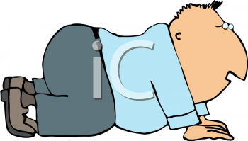 Royalty Free Clipart Image of a Man Crawling