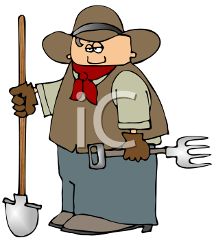 Royalty Free Clipart Image of a Cowboy Holding a Shovel