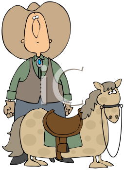 Royalty Free Clipart Image of A Cowboy With A Small Horse