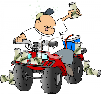 Royalty Free Clipart Image of a Man Drinking on an ATV