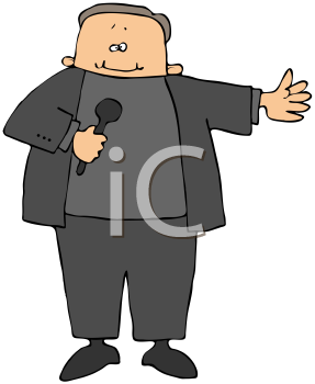 Royalty Free Clipart Image of A Man With A Microphone
