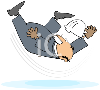 Royalty Free Clipart Image of a Worker Slipping