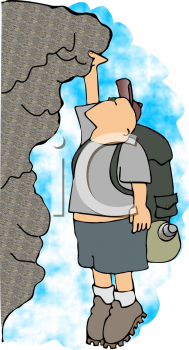 Royalty Free Clipart Image of a Rock Climber