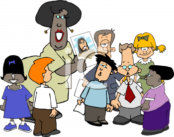 Royalty Free Clipart Image of Children at Sunday School