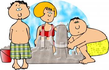 Royalty Free Clipart Image of People Building a Sand Castle