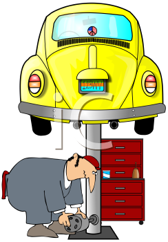 Royalty Free Clipart Image of A Mechanic Working Under A Volkswagon On A Hoist