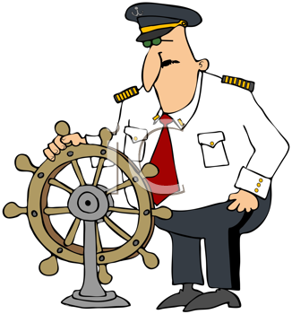 Royalty Free Clipart Image of a Captain at Ship's Helm
