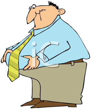 Royalty Free Clipart Image of a Guy Pinching His Belly