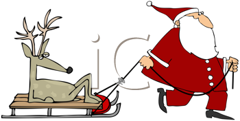 Royalty Free Clipart Image of Santa Pulling a Reindeer on a Sleigh